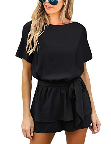 Vetinee Womens Black Summer Casual Layered Belted Romper Surplice Keywhole Back Short Sleeve Jumpsuit Playsuit X-Large