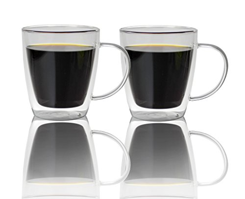 Summit One Large Double Walled Glass Coffee Mugs