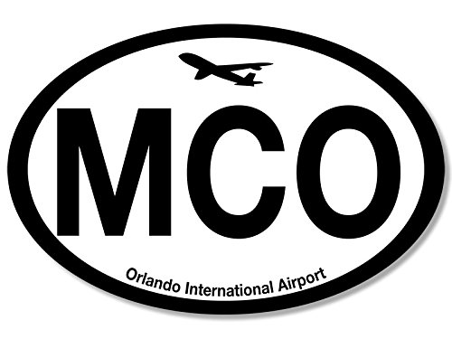 Oval MCO Orlando Airport Code Sticker (jet fly air hub pilot - Orlando Airports Fl