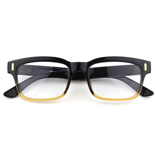 [Happy Store CN84 Casual Fashion Horned Rim Rectangular Bold Thick Frame Clear Lens Eye Glasses,Black] (Geek Chic Glasses)