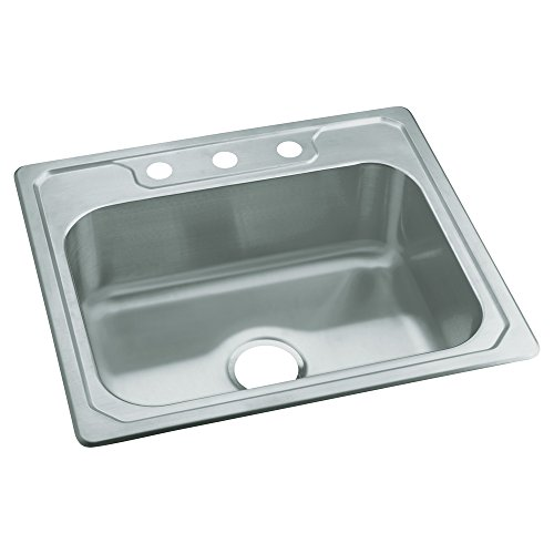 STERLING 14631-3-NA Middleton 25-inch by 22-inch Top-mount Single Bowl Kitchen Sink, Stainless Steel ()