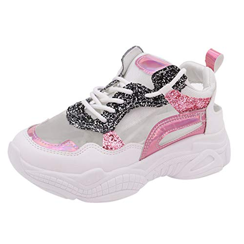 Platform Sneakers for Women,ONLY TOP Women's Fashion Chunky Sneakers Lace-Up Lightweight Mesh Sneakers Running Shoes Pink