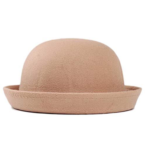 Elee Child Girls Vintage Wool Felt Bowler Hat Caps Derby Cap Dome Hat (#3 Camel)