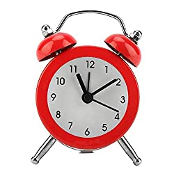 FTVOGUE Bell Alarm Clock 3 Portable Fashion Mini Metal Digital Clock with Battery Exquisite for Student Home(03)