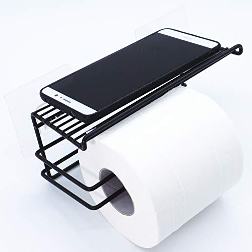(EINFAGOOD Toilet Paper Holder with Shelf Extend for Big Rolls, Toilet Paper Holder Adhesive Wall Mount, Toilet Paper Dispenser Black No Drilling (Black 1 Roll))