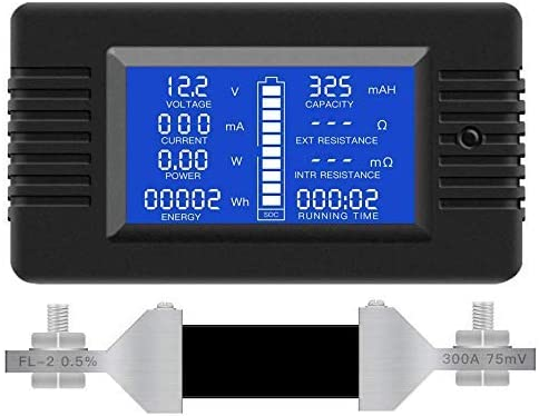 SDY-SDY Multifunction Battery Monitor Meter,0-200V,0-300A LCD Display Digital Current Voltage Solar Power Meter Multimeter Ammeter Voltmeter universal te Widely Applied to 12V//24V//48V RV//Car Battery