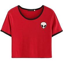 Froomer Women Short Sleeves Crop T-Shirt Top Aliens Printed Short Tops