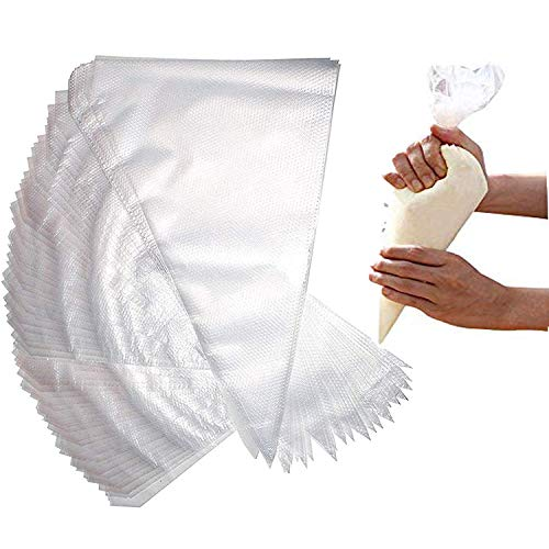 "Meao 100 Pcs Large Thickened 22"" Inch Disposable Cream Pastry Bags Icing Piping Bags Decorating Bags for Cake Cupcakes Frosting #3"