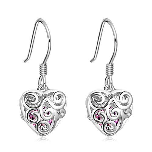 YFN Sterling Silver Hollow Filigree Heart Dangle Earrings Cage Locket Earrings with Purple Cubic Zirconial Women's Wedding Birthday Party Jewelry (Filigree Ball Heart Cage Earrings)