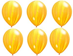 6 pcs Yellow Marble Balloons for your Party needs - Salux Collection