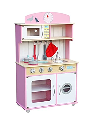 Deluxe Wooden Kitchen Toy Pretend Kids Children Role Play Set with Accessories by Oye Hoye - Pink,Natural Wood