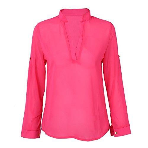 SODIAL(R) Printemps / ete / Automne Chemise en mousseline de soie rose a manches longues demi manches a Col en V pour Femmes XL