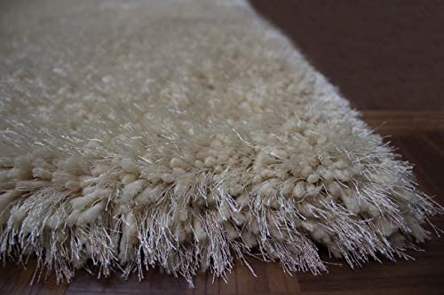 Beige Cream Color Two Tone 8×10 Feet Shag Shaggy Fluffy Fuzzy Furry Solid Area Rug Carpet Rug Indoor Bedroom Living Room Decorative Designer Modern Contemporary Plush Polyester Made Canvas Backing