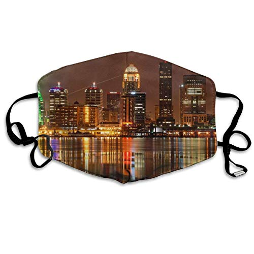 Mouth Mask Earloop Face Mask Comfort Polyester Breathable Mask - Louisville Adjustable Elastic Strap Windproof Mouth-Muffle, Reusable & Washable, Anti Flu ()