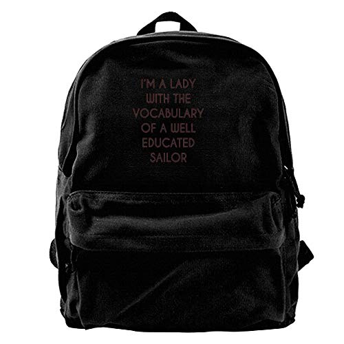 A Daypack HLOL Sailor Shoulder of A for I'm Women Backpack Canvas Bag with Men Bags College AiLe Lady Travel Fashion Teens School The Well Educated amp; Vocabulary qAEfxwf4d