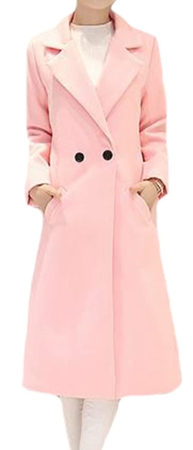 Generic Womens Classy Lapel Outer Slim Fit Long Plain Peacoats