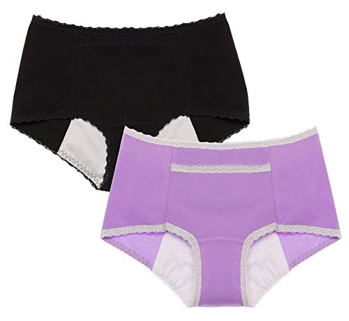 Intimate Portal Women Secret Agent Leak Proof Incontinence Period Panties 2-Pk Black Purple M