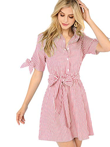 Sleeveless Belted Shirt Dress - Romwe Women's Cute Sleeveless Striped Belted Button up Summer Short Shirt Dress (Small, Pink_1)