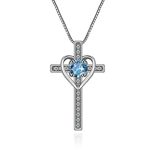 - Ovlist 14k White-Plated Round Cut Blue Cubic Zirconia Cross Heart Pandent Necklace for Women 14k White Gold-Plated Round Cut Amethyst Cross Heart Pandent Necklace for Women 16