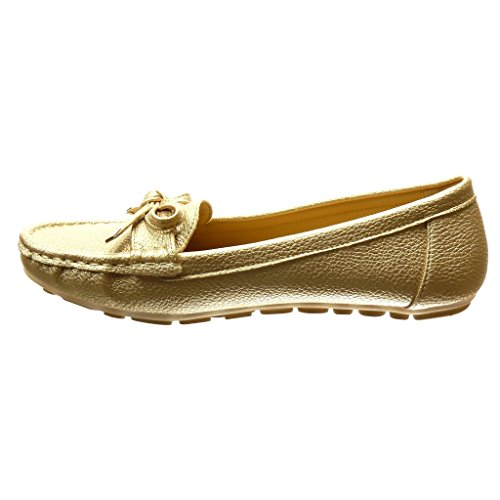 Angkorly - Chaussure Mode Mocassin slip-on femme noeud métallique Talon plat 0 CM - Or