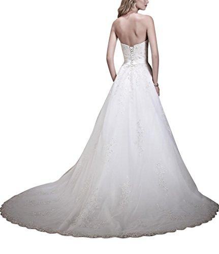 GEORGE BRIDE Gorgeous Hand-Perlen Tull grossen schlepp Brautkleid Weiß G6K5MD
