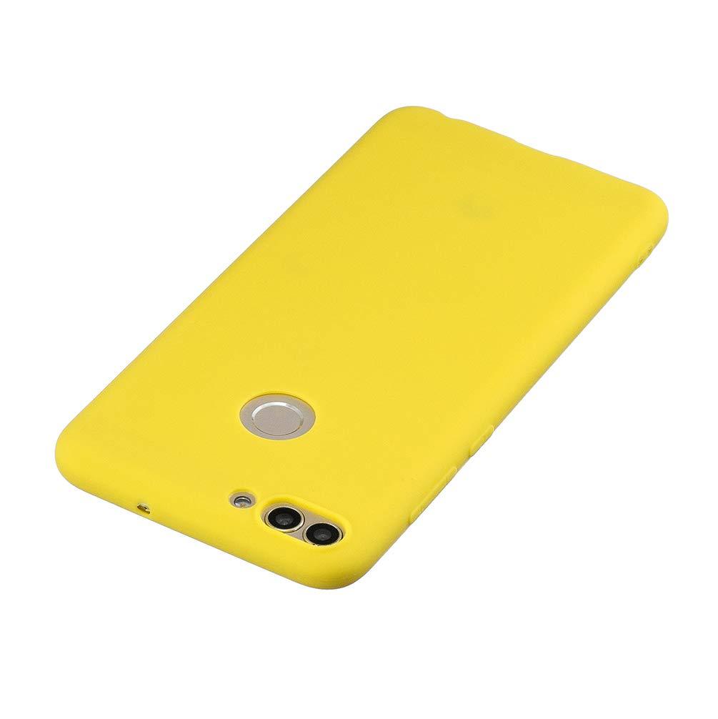 Funda Huawei P Smart Silicona Ultra Fina Flexible 5X Funda para Huawei P Smart Carcasa TPU Gel Protector Colores Case Cover para Huawei P Smart Rojo Amarillo Verde Azul Negro
