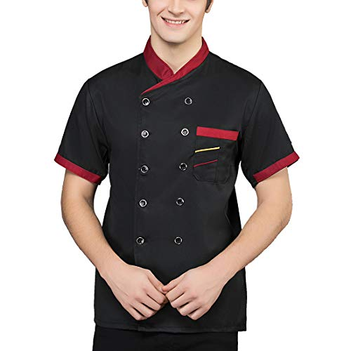Men's Short Sleeve Unisex Classic Double-Breasted Chef Coat Jacket (Black, Large) Double Breasted Chef Coat