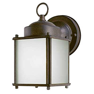 6488300 One-Light Exterior Wall Lantern with Dusk to Dawn Sensor, Sienna Finish on Steel with Frosted Glass Panels