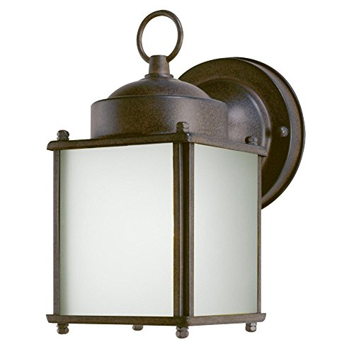 6488300 One-Light Exterior Wall Lantern with Dusk to Dawn Sensor, Sienna Finish on Steel with Frosted Glass Panels (Lighting To Exterior Dusk Dawn)