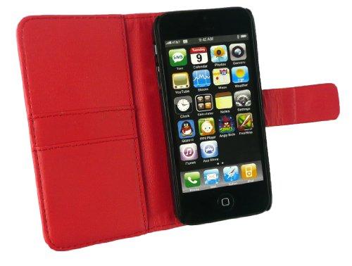 Emartbuy ® Apple Iphone 5 Prime Pu Cuir Wallet Case / Couverture / Pochette Avec Emplacements Pour Les Cartes De Crédit Rouge