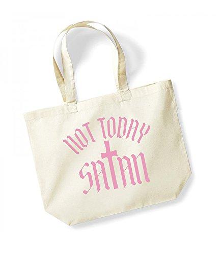 Not Today Satan - Cross - Large Canvas Fun Slogan Tote Bag Natural/Pink