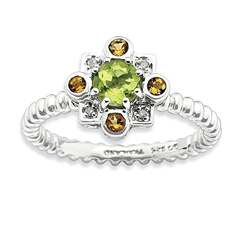 2.5mm Sterling Silver Bezel Polished Prong set Rhodium-plated Stackable Expressions Peridot Citrine and Diamond Stackabl - 10 Inch