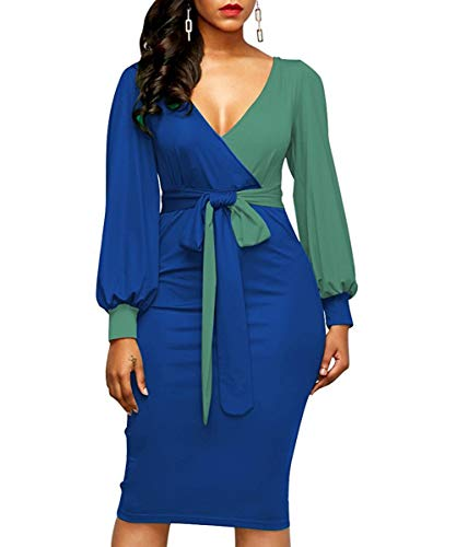 Acelyn Women's Sexy V Neck Dress Color Block Long Sleeve Tie Knot Front Wrap Bodycon Midi Bandage Pencil Dresses with Belt
