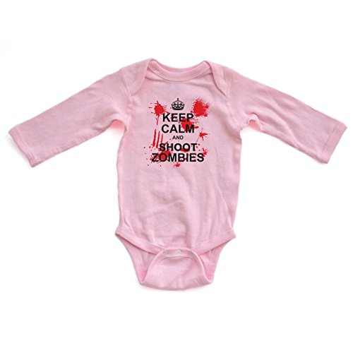 Keep Calm and Shoot Zombies Awesome Zombie Apocalypse Long Sleeve Baby Bodysuit