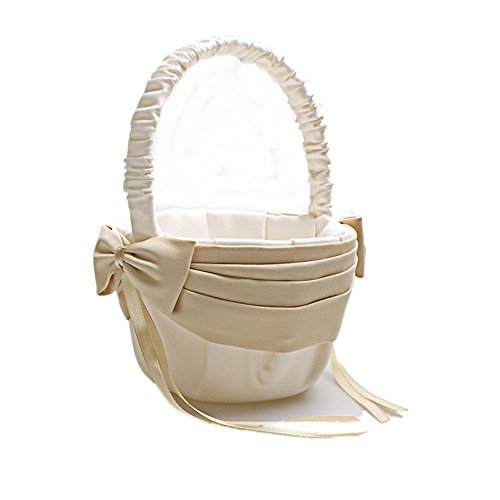 AZDRESS Ivory Champagne Satin Flower Girl Basket with Bow by AZDRESS