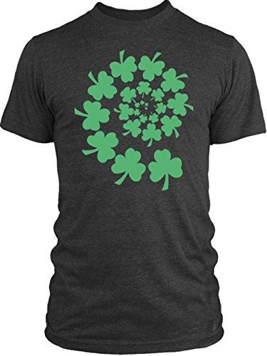 Vintage Shamrock Tri Blend (Big Texas Shamrock Spiral (Green) Vintage Tri-Blend T-Shirt, Macchiato,)