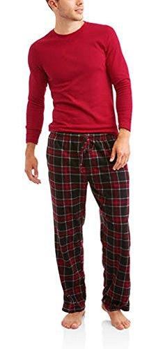 Hanes Mens Adult Xtemp Long Sleeve Crew Shirt & Fleece Plaid Pant Pajamas PJ Set - Crayon Red, (Hanes Flannel Plaid Pajamas)