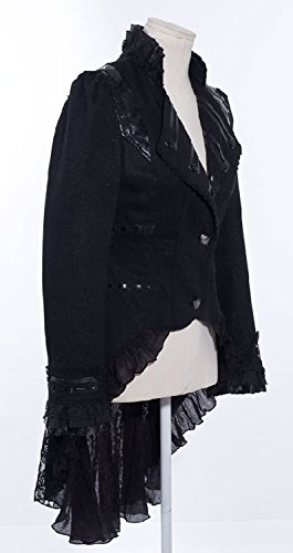 Gótico, arisocrate élegante-Chaqueta larga para mujer con encaje y etiqueta en el lomo RQ-BL negro