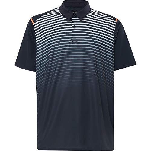 Oakley Men's Polo Shirt Ss Striped Ellipse, Blackout, L