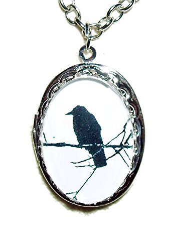 BLACK BIRD ON BRANCH LOCKET NECKLACE SILVER PLATED OVAL PENDANT CROW RAVEN GLASS DOME