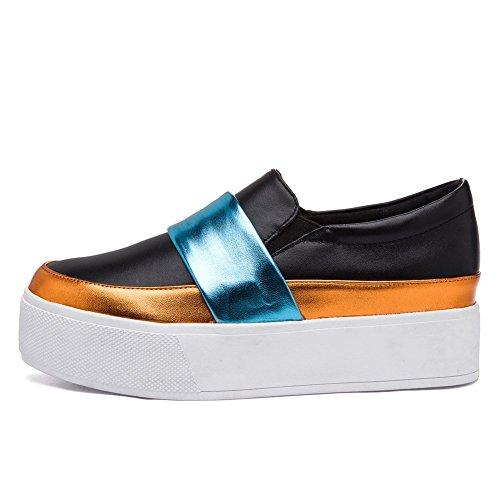Shenn Mujer Plataforma Ponerse Cuero Zapatillas Zapatos 1601 Negro&Azul