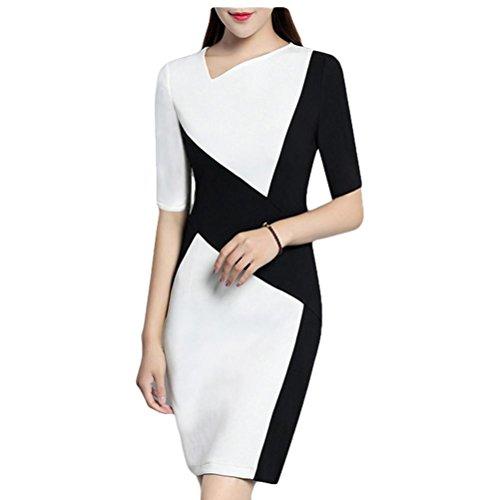 Robe élégante élégante robe de couture en noir et blanc habillement professionnel en hanche - noir et blanc s black and white