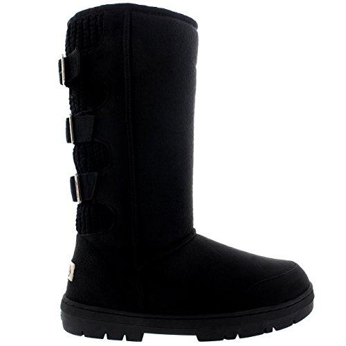 Womens Waterproof Long Winter Shoe Buckle Mid Calf Snow Boots Black/Black 4qJ5Hn