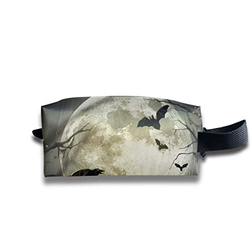 Makeup Cosmetic Bag Halloween Moon Illustration Art Zip Travel Portable Storage Pouch for Mens Womens