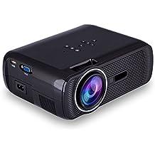 iRULU Portable Mini LED Projector, VGA USB SD AV HDMI for Home Cinema Theater, Child Games Black