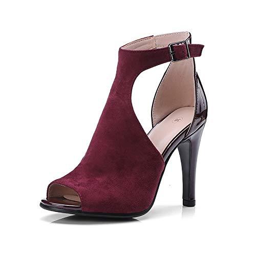 Evening Strap Spring Fall Buckle Stiletto amp; Shoes ZHZNVX Heels Microfiber Ankle Polyurethane Women's Black PU Peep amp; Wine Party Wedding Wine Heel Toe XS1zqAwS
