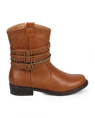 Leatherette DE63 Toe Brown Motorcycle Women Strappy Bumper Round Chain Boot vTwqFC