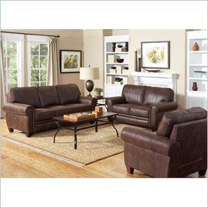 - Coaster Bentley 3 Piece Rustic Styled Microfiber Sofa Set in Brown
