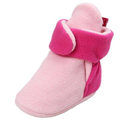 Xshuai Baby Soft Sole Herbst und Winter Schnee Anti-Rutsch niedlichen Stiefel Soft Krippe Schuhe Kleinkind Stiefel Rosenrot