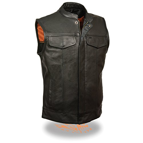 Men's Naked Cowhide Leather SOA Vest, Zipper and Snap Front (Black & Brown) (Small, Black)